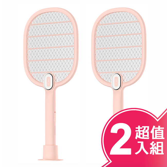 【DayPlus】充電式LED燈電蚊拍(超值二入組) HF-D8085U