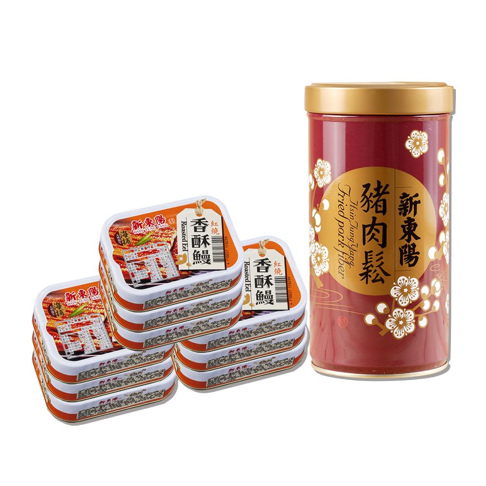 神腦獨家【新東陽】豬肉鬆255g*1罐+海捕紅燒香酥鰻100g*9罐