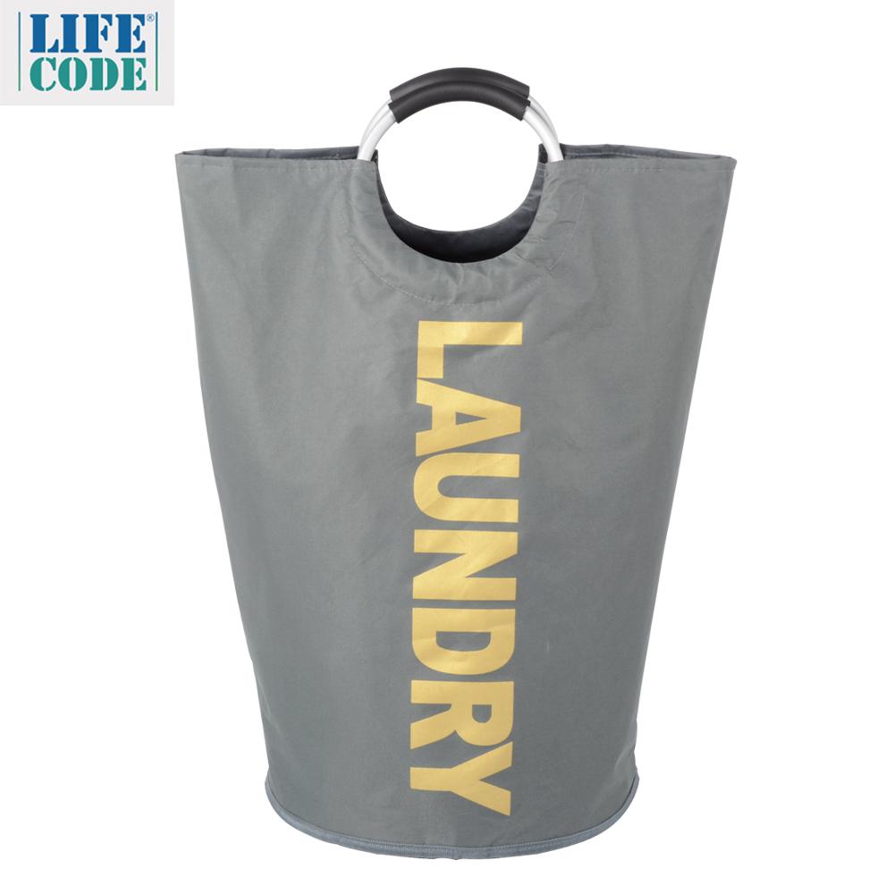 【LIFECODE】超大容量髒衣袋LAUNDRY金字/折疊裝備袋-灰色