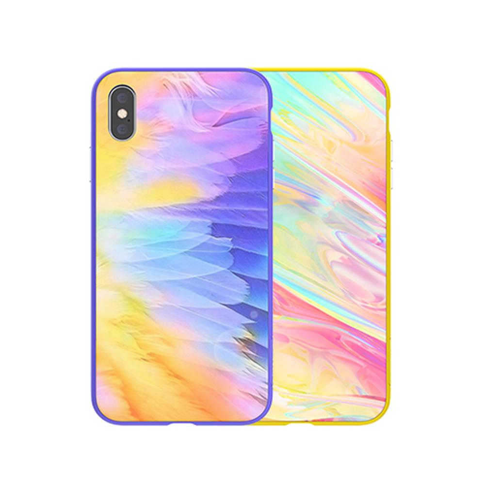 NILLKIN Apple iPhone Xs Max 幻彩玻璃手機殼(紫色)