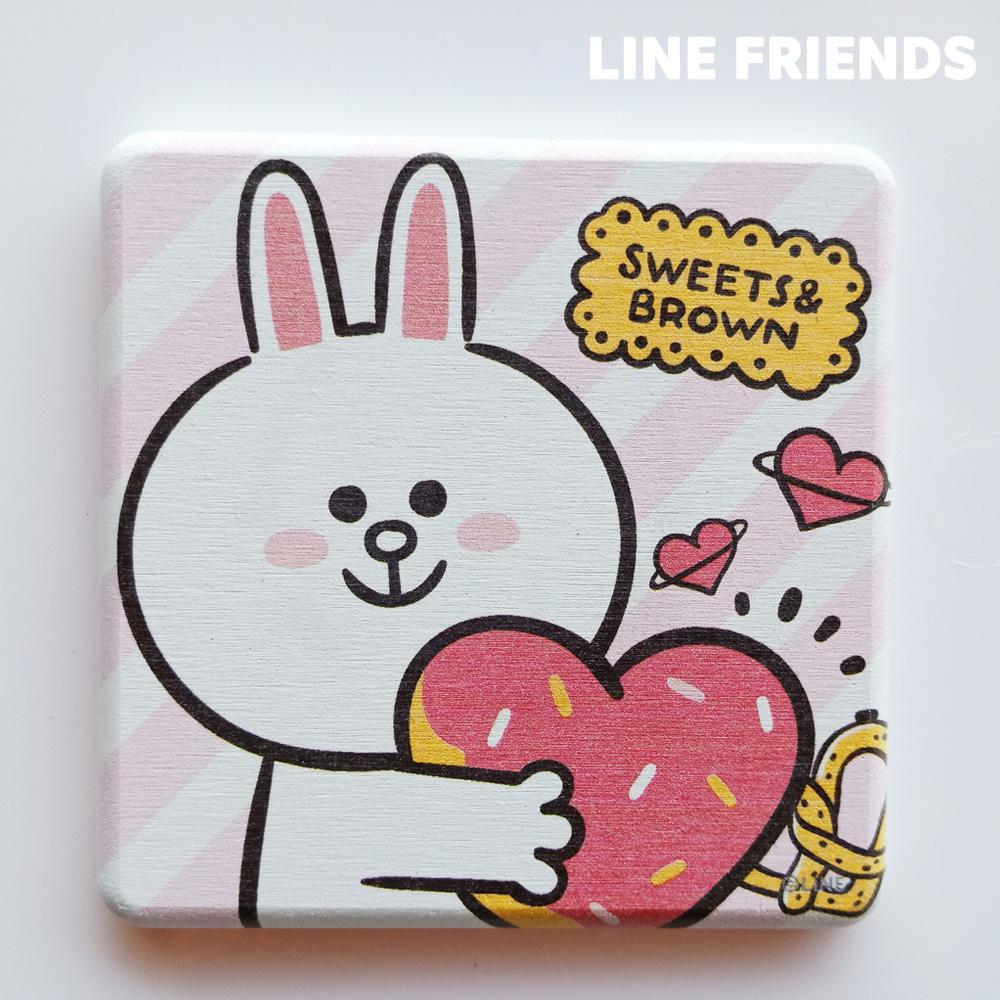 【LINE FRIENDS】手繪款 珪藻土杯墊//愛心兔兔