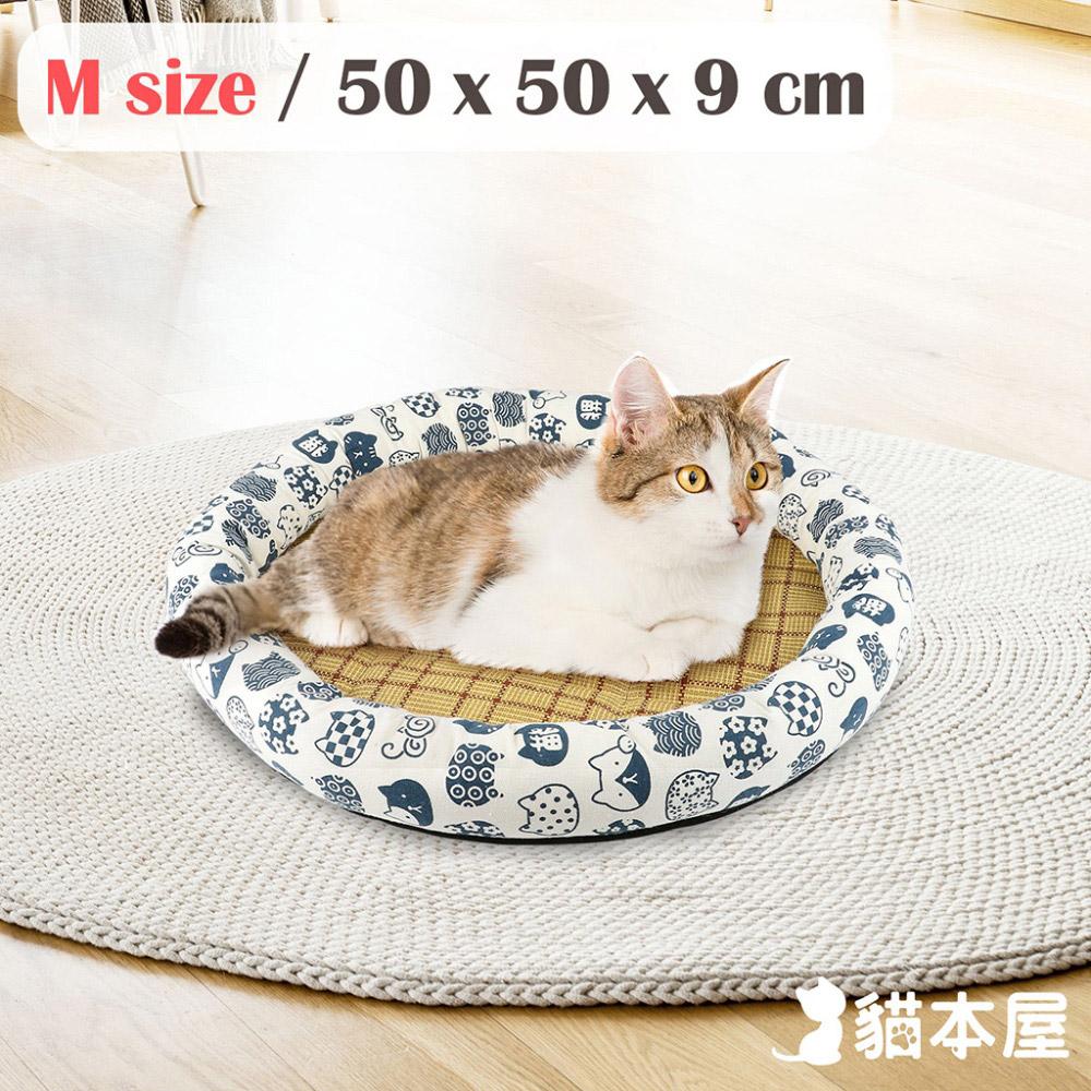 貓本屋 日式和風寵物涼蓆墊(M號/50x50cm)-白底藍貓
