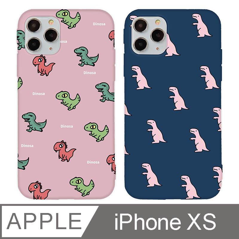 iPhone X/Xs 5.8吋 時尚經典恐龍亂花iPhone手機殼 排排站小恐龍