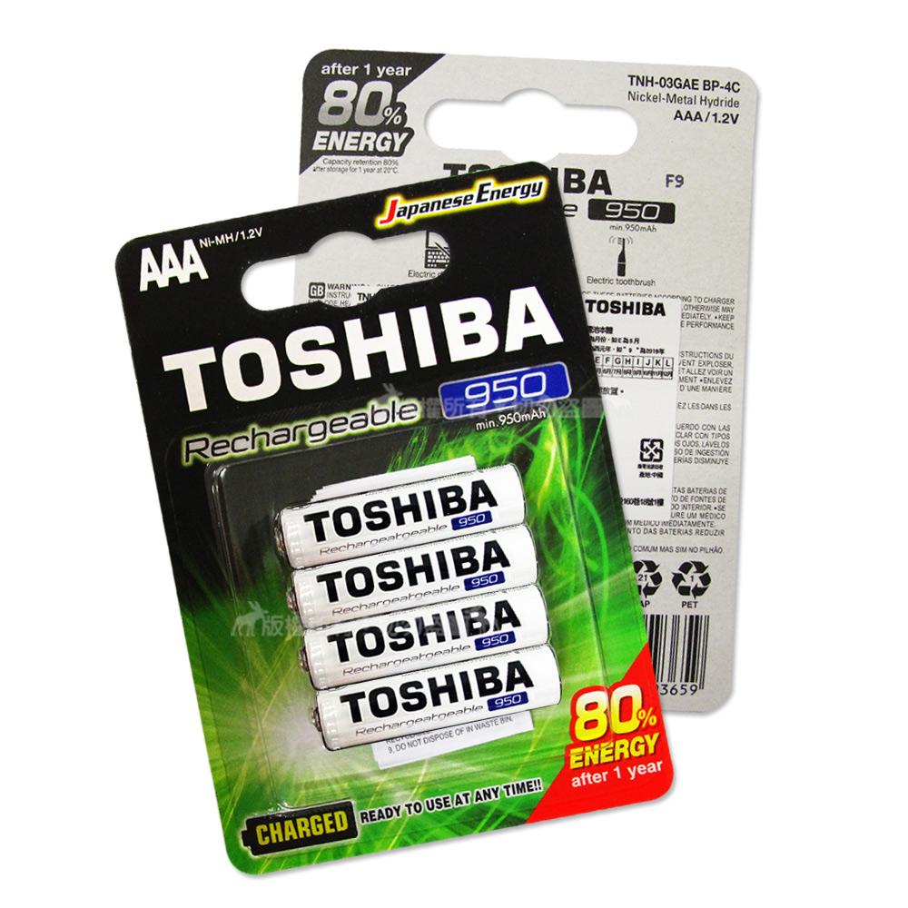TOSHIBA東芝4號低自放電鎳氫充電電池950mAh(8顆入)送電池盒