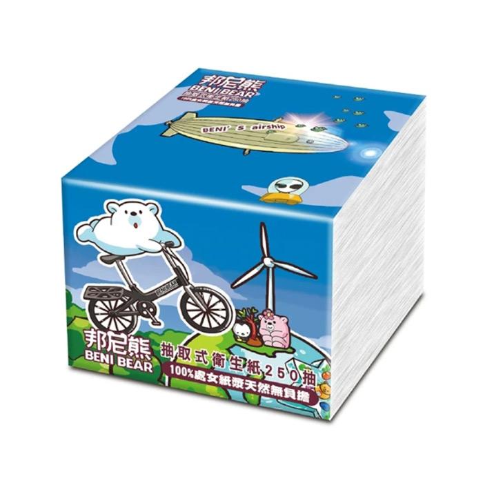 Benibear 邦尼熊 抽取式衛生紙-腳踏車版250抽10入