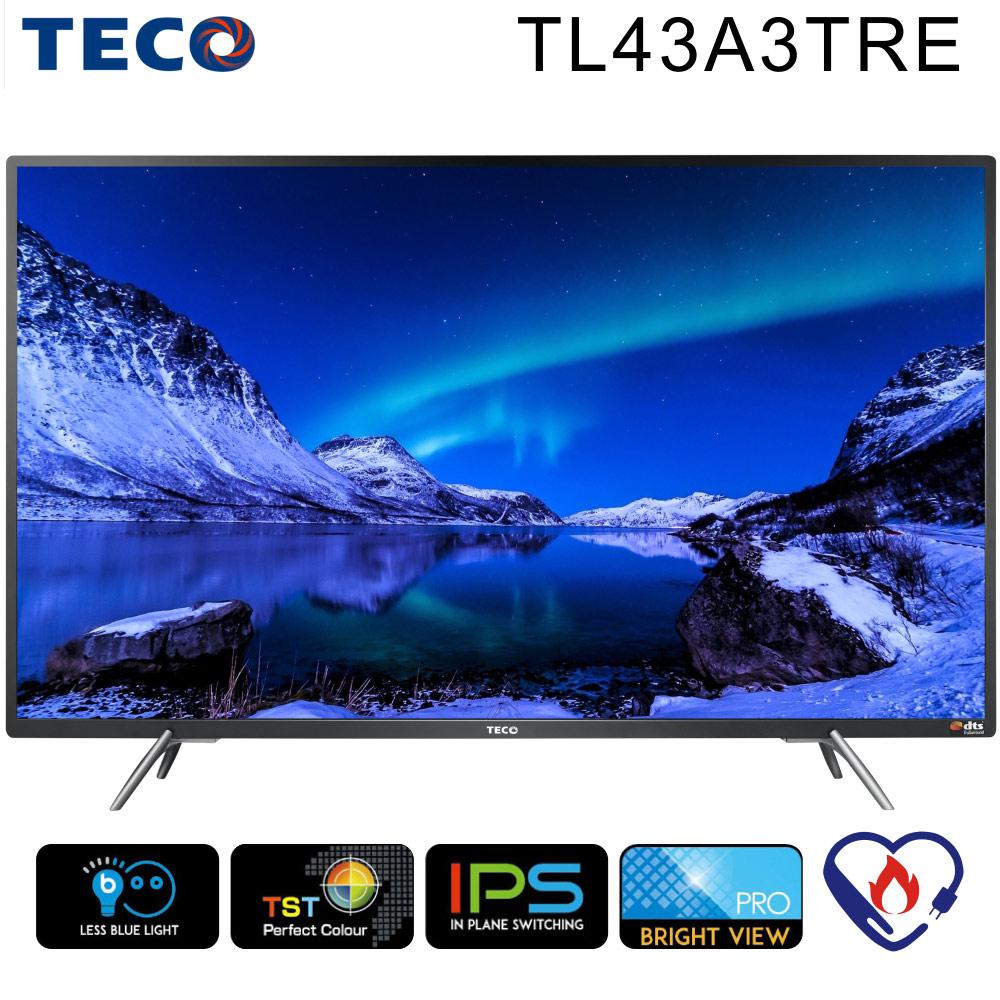 TECO東元 43吋FHD 低藍光液晶顯示器+視訊盒(TL43A3TRE)*尚朋堂14吋立扇+HDMI線