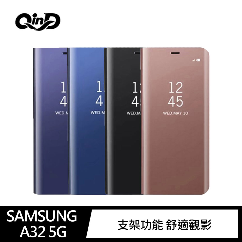 QinD SAMSUNG Galaxy A32 5G 透視皮套(藍色)