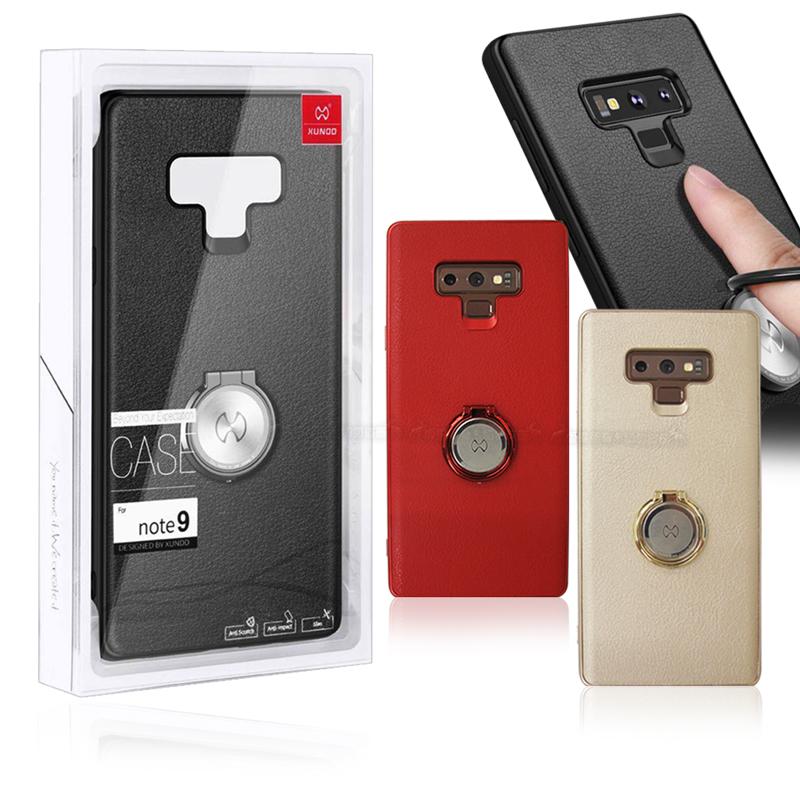 XUNDD 三星 Samsung Galaxy Note9 奢華皮革指環扣支架手機殼 (純黑)