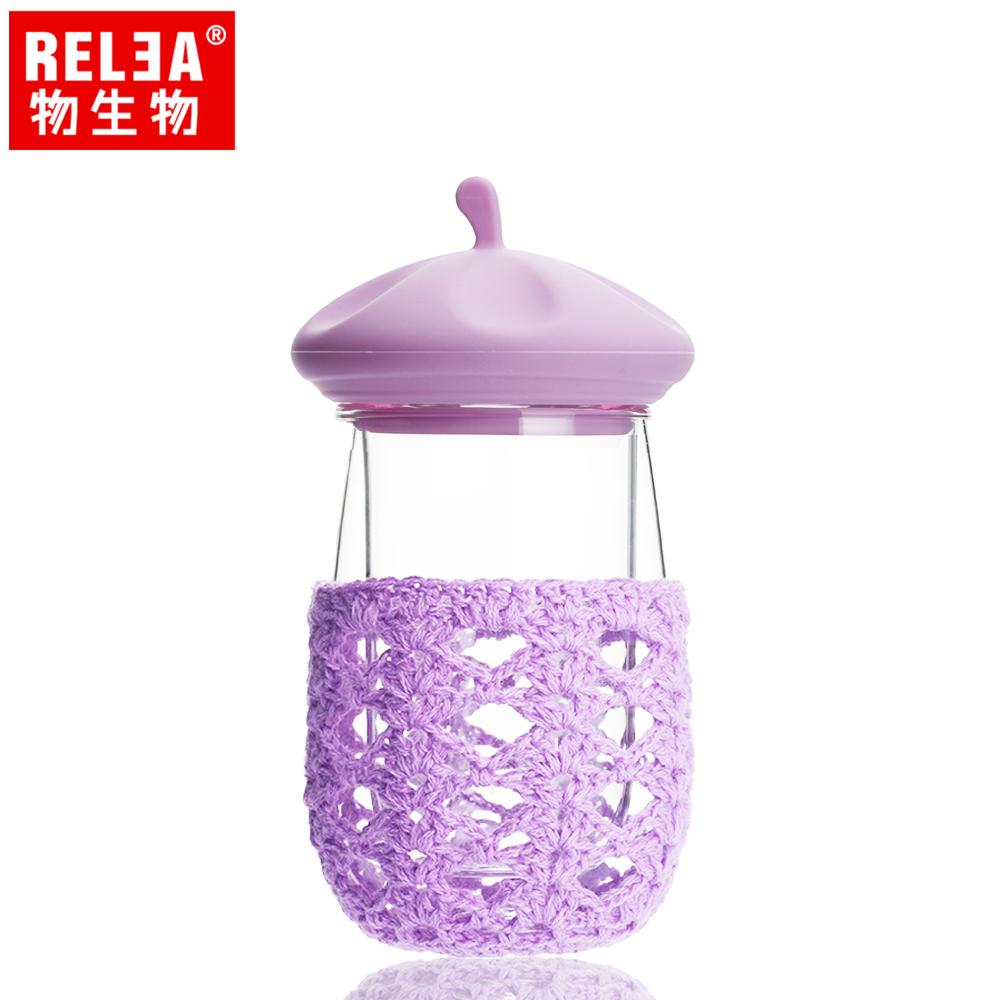 【香港RELEA物生物】創意帽子造型雙層玻璃隔熱杯(紫色畫家帽)