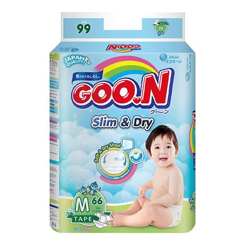 【日本大王GOO.N】國際版-黏貼型紙尿褲 (M號/66片x4串)