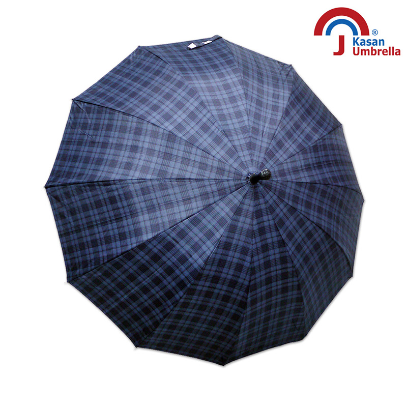 【Kasan晴雨傘】大傘面12K銀格自動直傘-深藍格