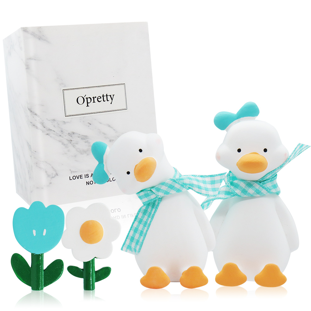 O'Pretty 歐沛媞 車用香氛擴香石擺飾-元氣加油鴨禮盒(藍色)