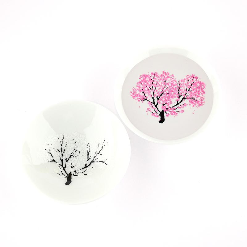 丸高木陶器|日本櫻花漫爛冷感變色清酒杯