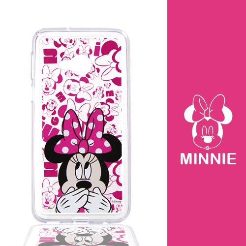 【Disney】HTC U Play (5.2吋) 摀嘴系列 彩繪透明保護軟套(米妮)