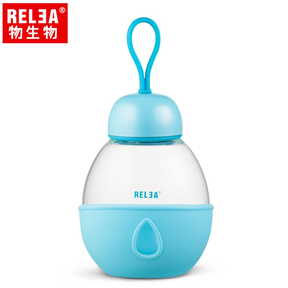 【香港RELEA物生物】400ml可儷耐熱玻璃防燙隨身杯(氣泡藍)