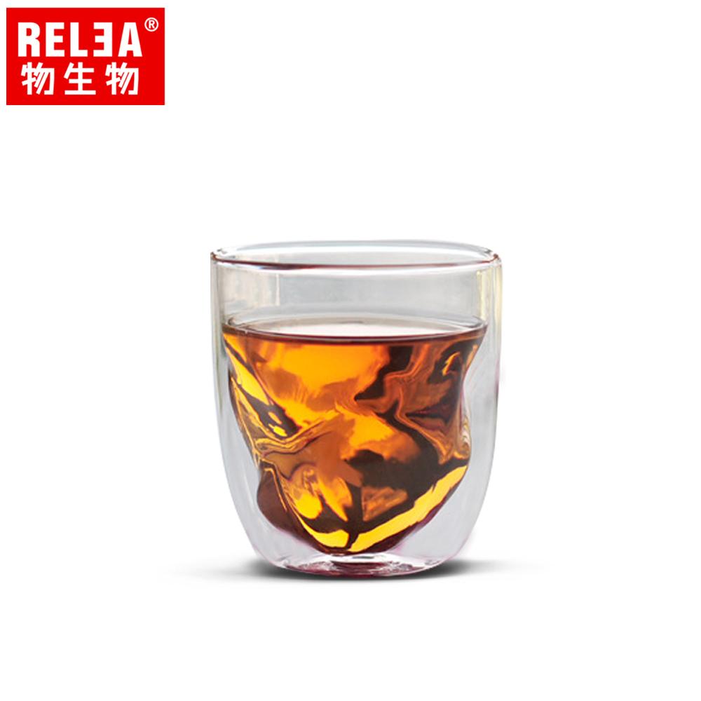 【香港RELEA物生物】230ml雙層玻璃冰塊杯