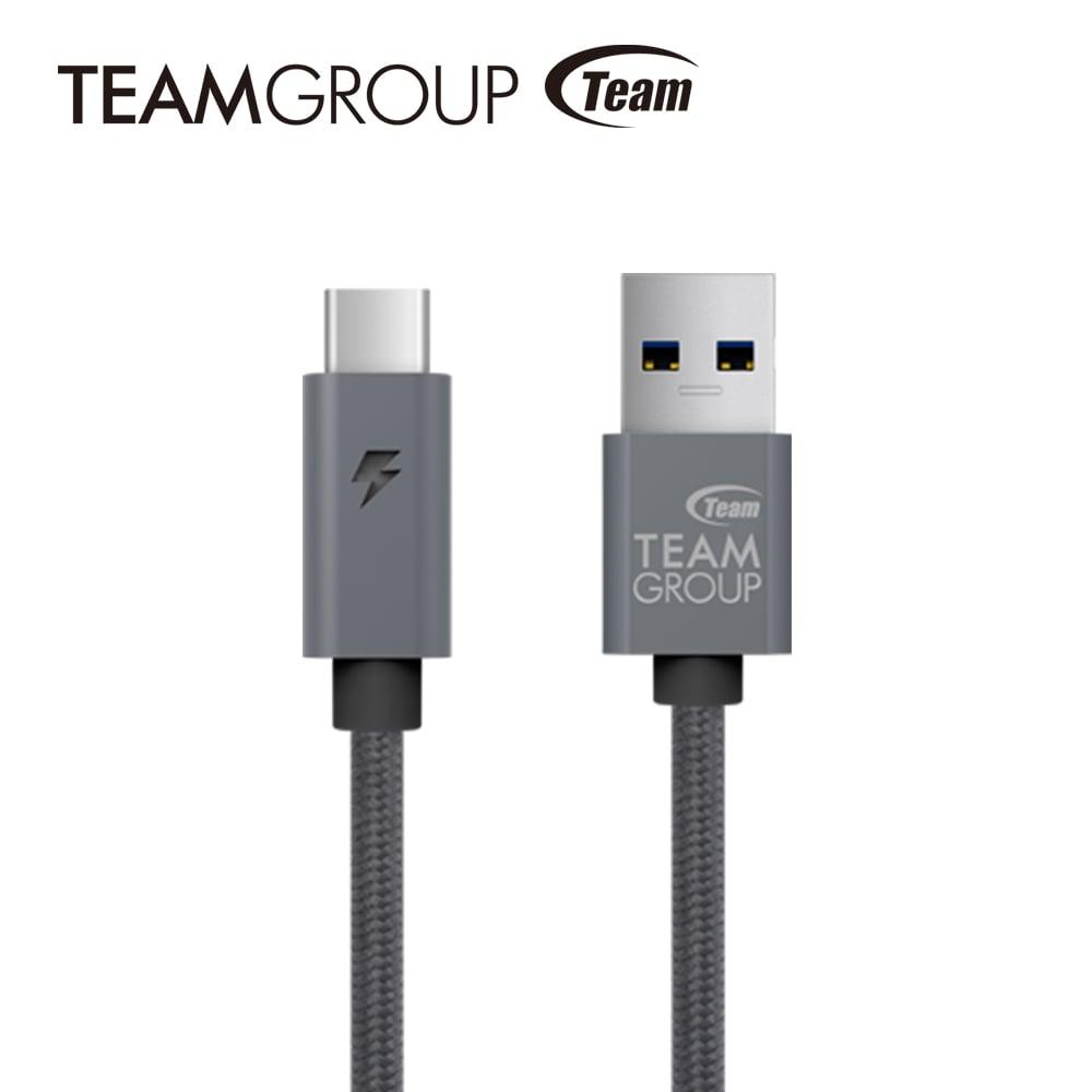 TEAM十銓科技 USB 3.1 Gen1 TypeC充電/傳輸線 TWC0A - 太空灰