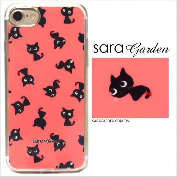 【Sara Garden】客製化 軟殼 蘋果 iphone7plus iphone8plus i7+ i8+ 手機殼 保護套 全包邊 掛繩孔 手繪粉嫩黑貓