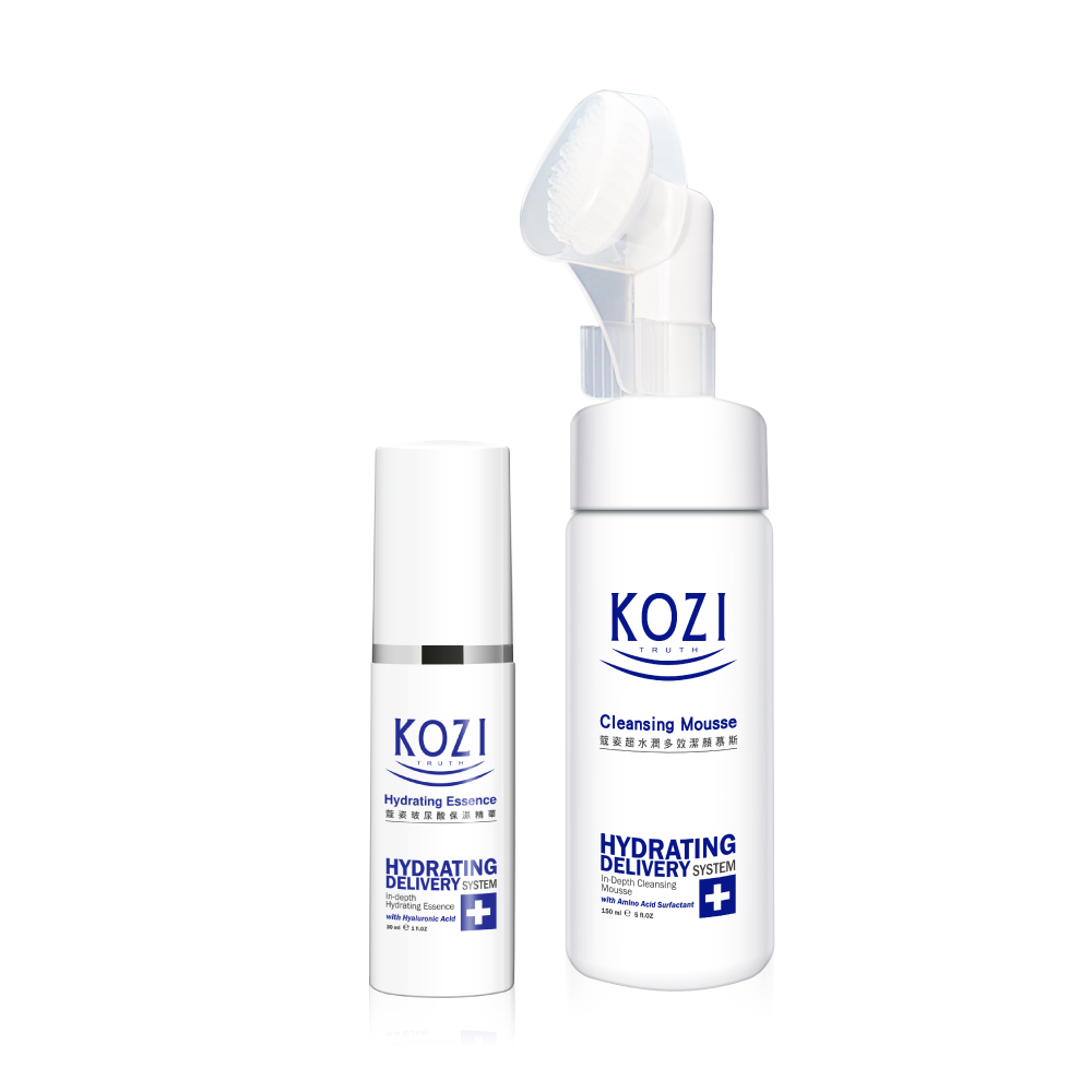 KOZI蔻姿 玻尿酸保濕精華30ml+KOZI 超水潤多效潔顏慕斯150ml