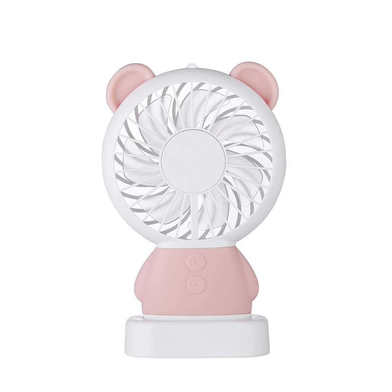 【新一代】達摩熊造型多功能USB隨行涼快風扇(手持/直立兩用)少女粉