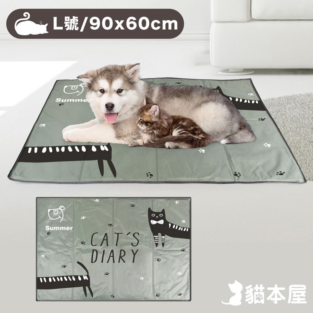 貓本屋 冰晶軟凝膠 寵物降溫墊(L號/90x60cm)-灰貓