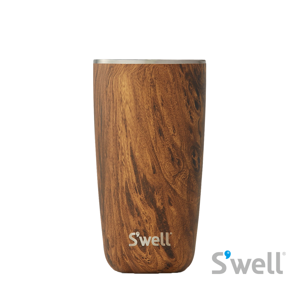【S'well】紐約時尚不鏽鋼保冷保溫瓶-Tumbler系列 Teakwood+Tumbler Lid 18oz(532ml)