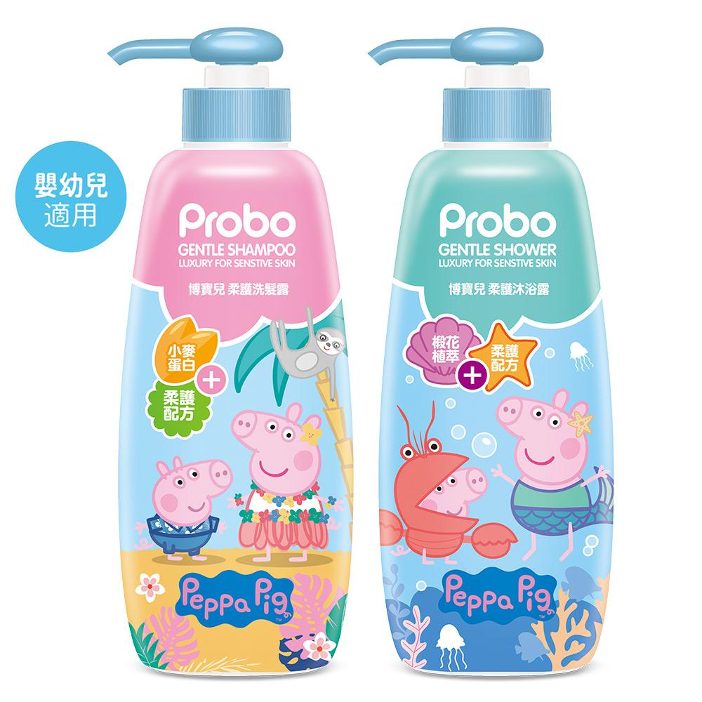【博寶兒】柔護洗髮露+沐浴露500ML (嬰幼兒適用)-佩佩豬 低敏配方
