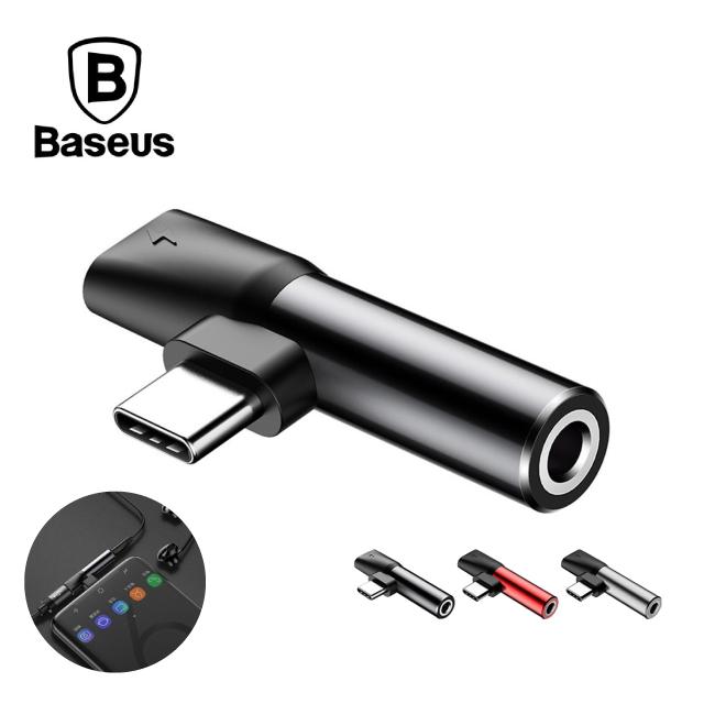 Baseus 倍思 L41 TypeC轉TypeC母座+3.5mm轉接 - 黑色