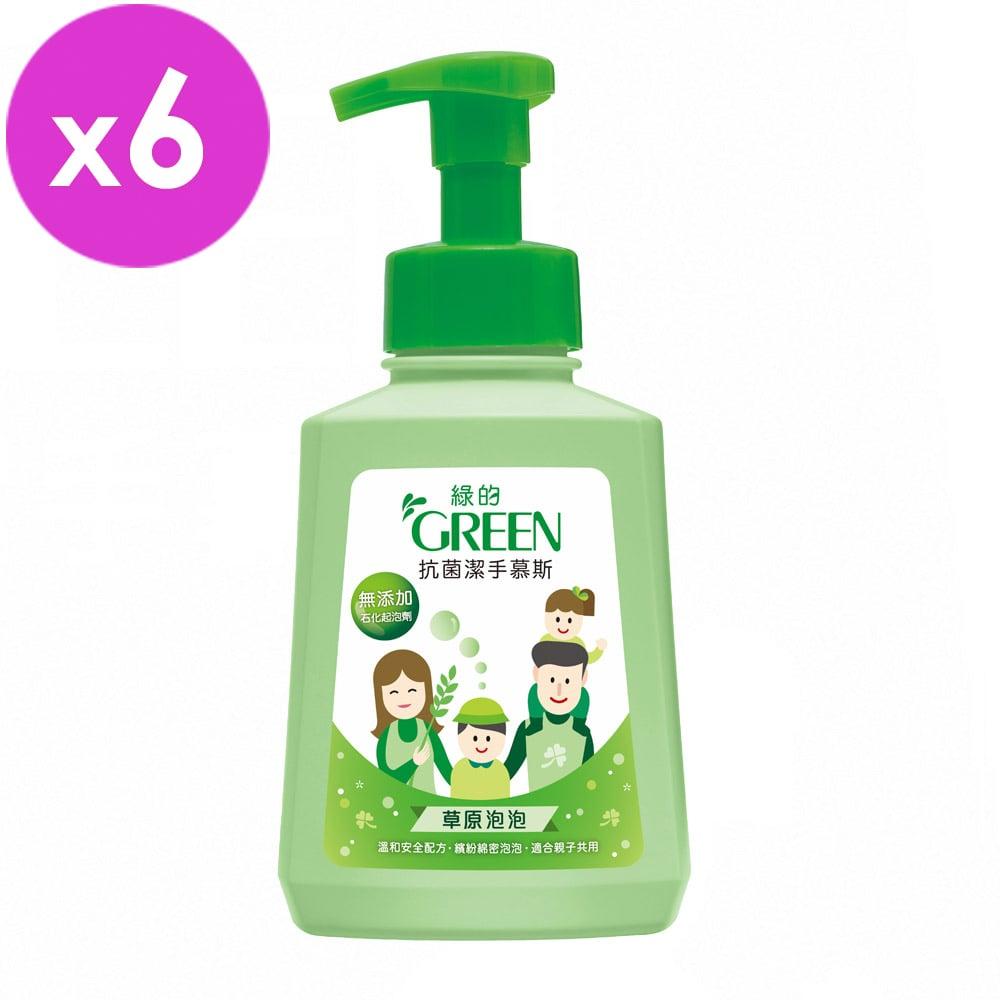 綠的GREEN 抗菌潔手慕斯-草原泡泡500ml*6入組