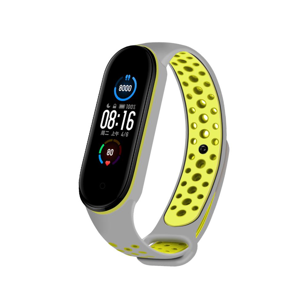 小米手環5代 運動風撞色洞洞矽膠替換錶帶-黃灰