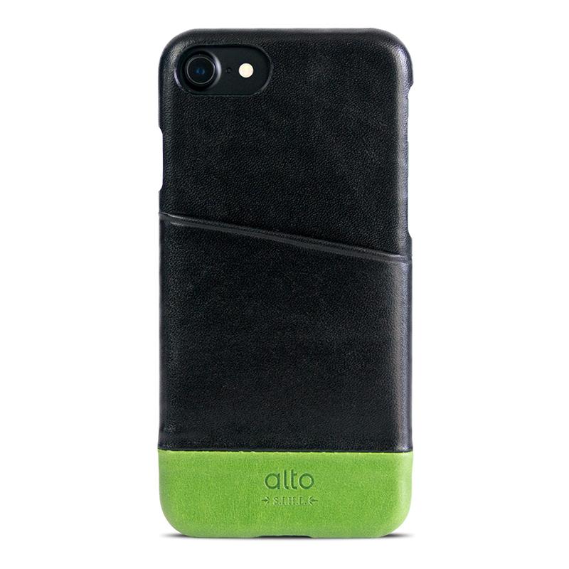 Alto|iPhone 7/8 真皮手機殼背蓋,Metro(黑色/萊姆綠)