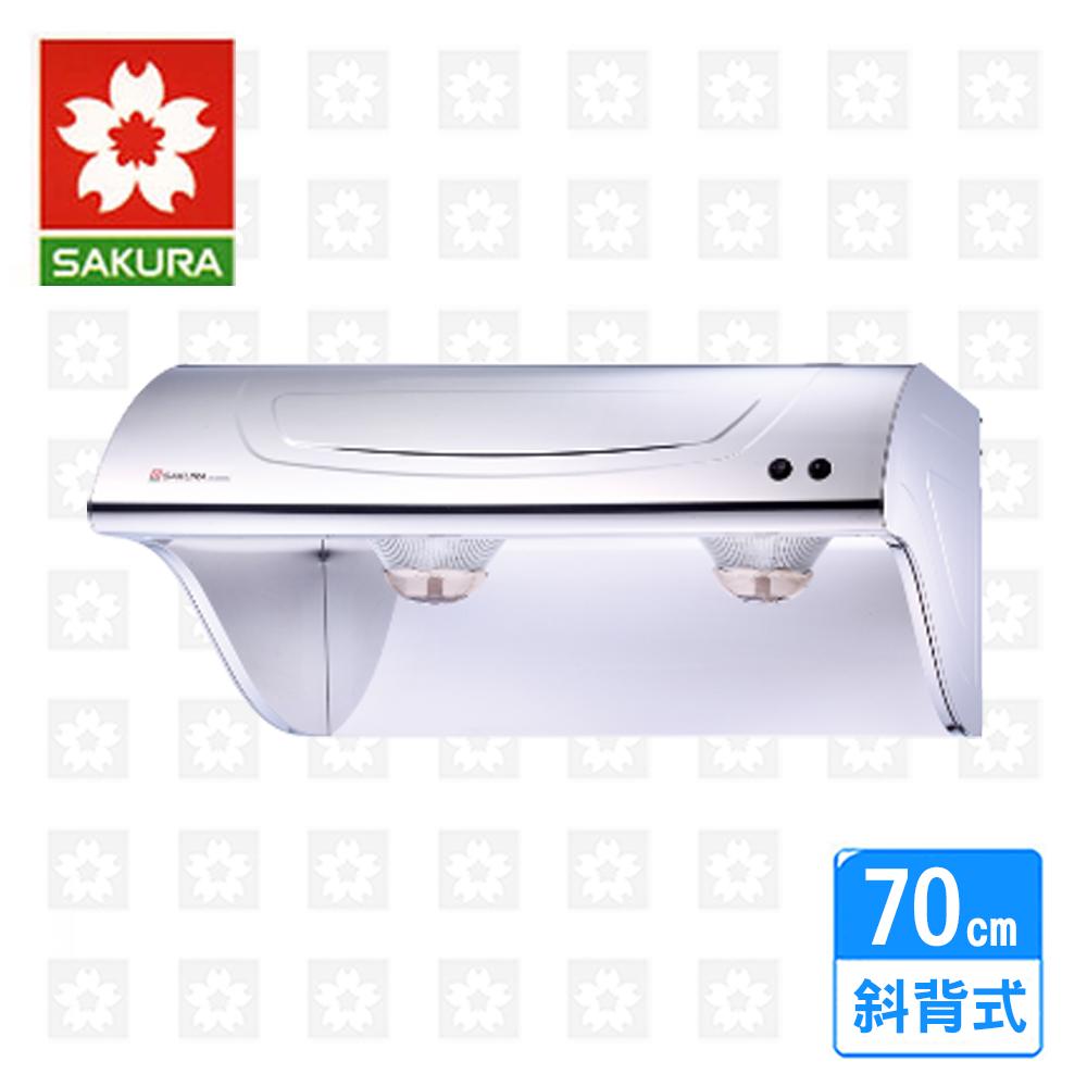 【櫻花牌。限北北基配送。】斜背型烤漆除油煙機70cm ( R-3250 )