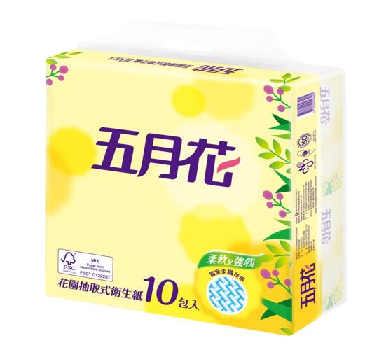 五月花 花園版抽取式衛生紙100抽x10包x2袋/組
