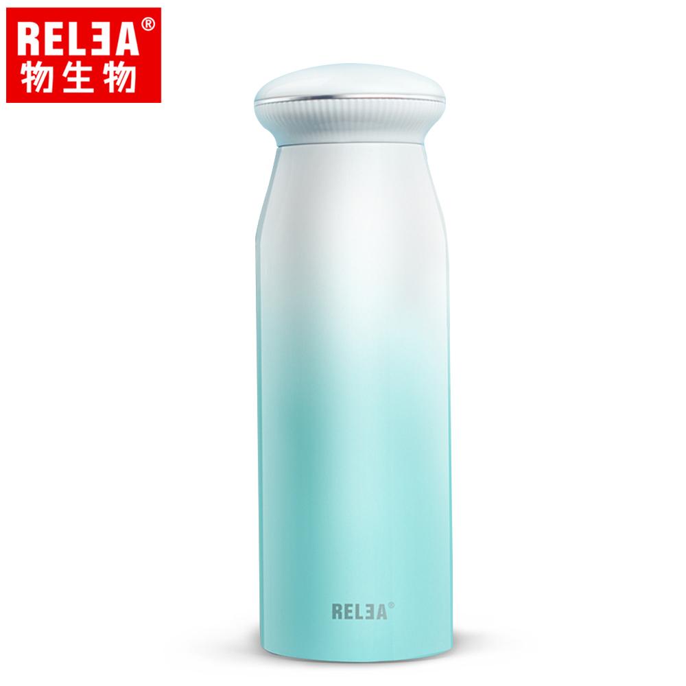 買1送1【香港RELEA物生物】380ml築夢貝殼304不鏽鋼保溫杯(冰藍色)贈送款顏色隨機出貨
