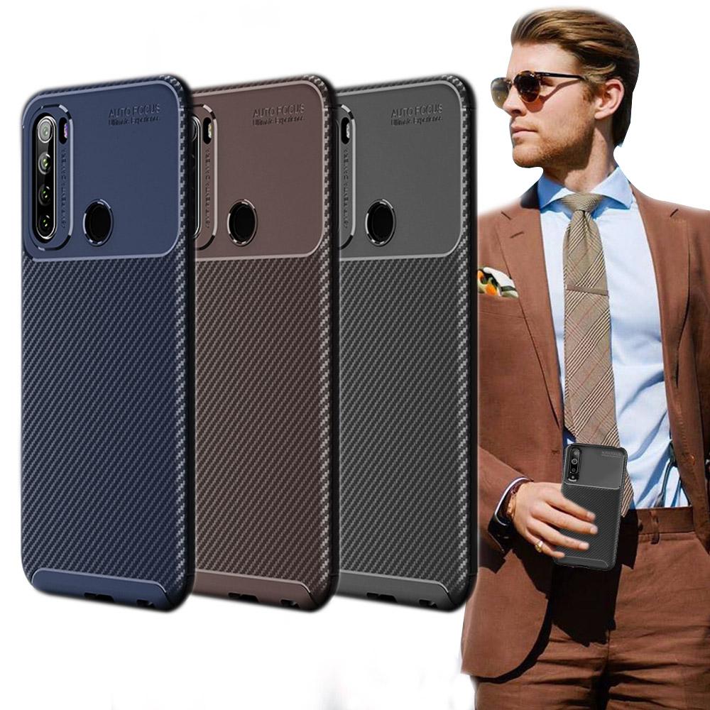 爵士焦點 紅米Redmi Note 8T 碳纖維防指紋軟式手機殼(可可咖)