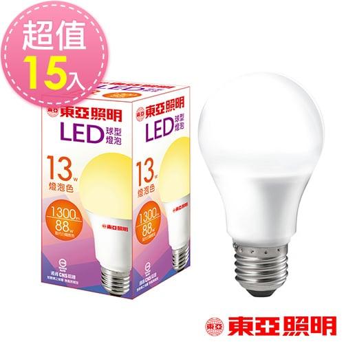 東亞照明 13W球型LED燈泡-黃光15入