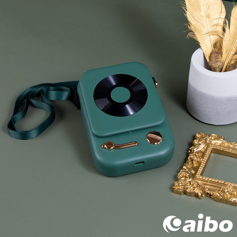 USB充電式 復古留聲機造型頸掛風扇-綠色