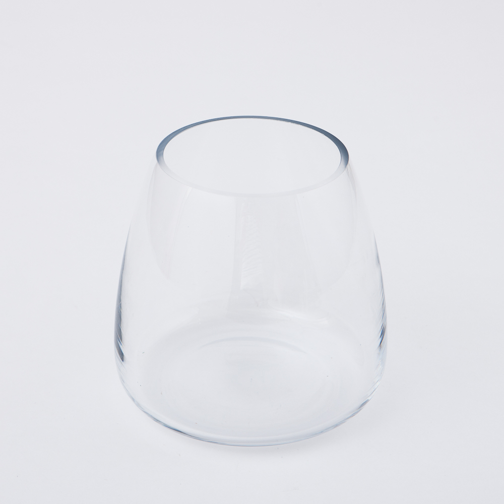 Clear圓弧手工花瓶H16cm-生活工場