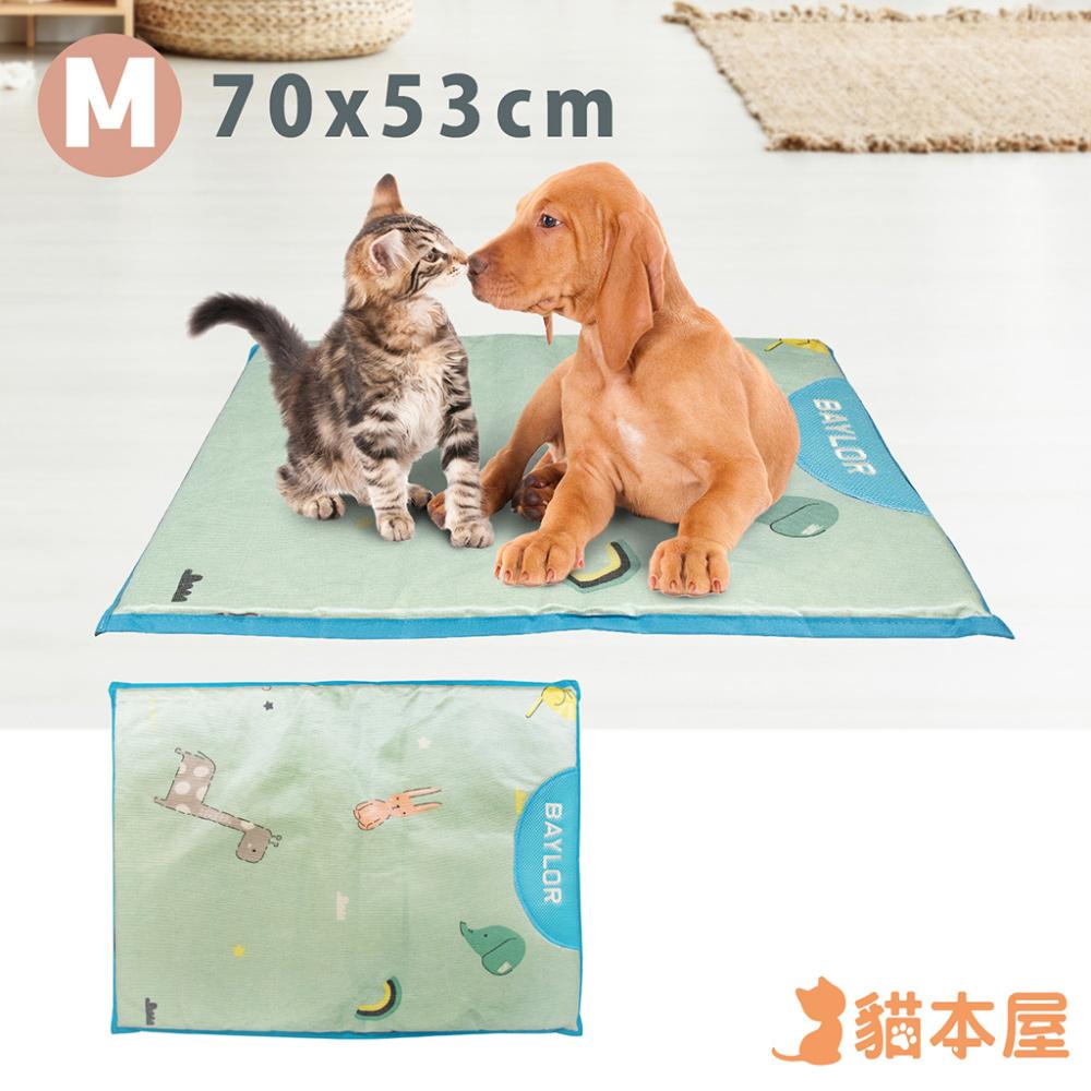 貓本屋 冰絲寵物涼墊(M號/70x53cm)-動物藍