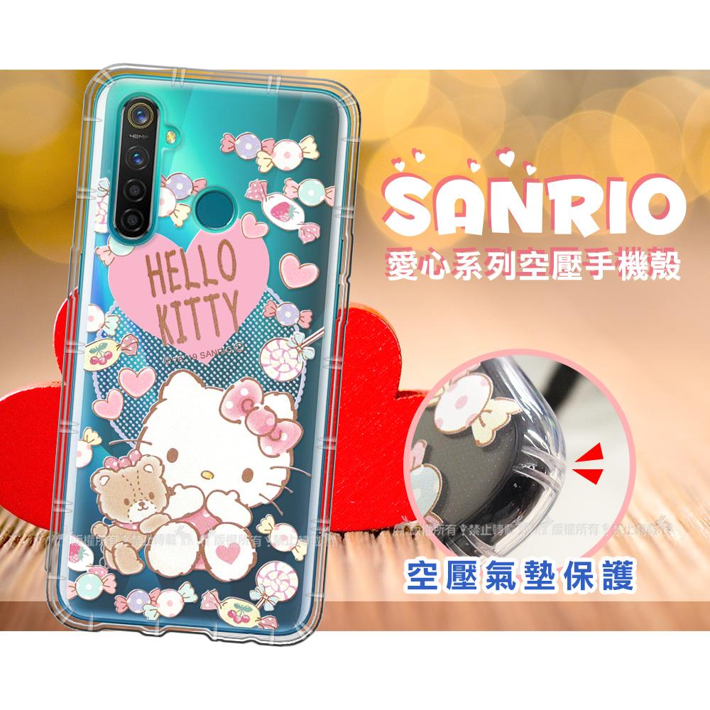 三麗鷗授權 Hello Kitty凱蒂貓 realme 5 Pro 愛心空壓手機殼(吃手手)