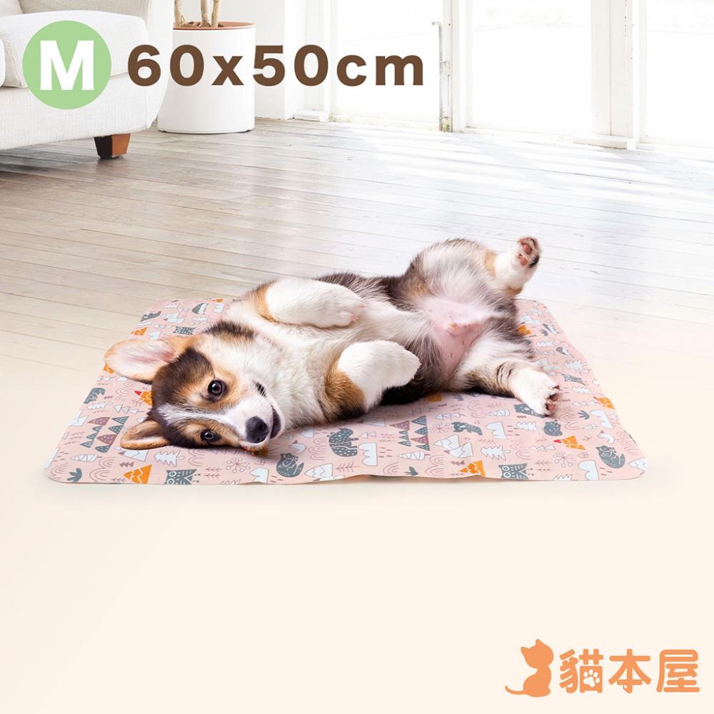 貓本屋 冰晶軟凝膠 動物森林 寵物降溫墊(M號/60x50cm)-粉紅