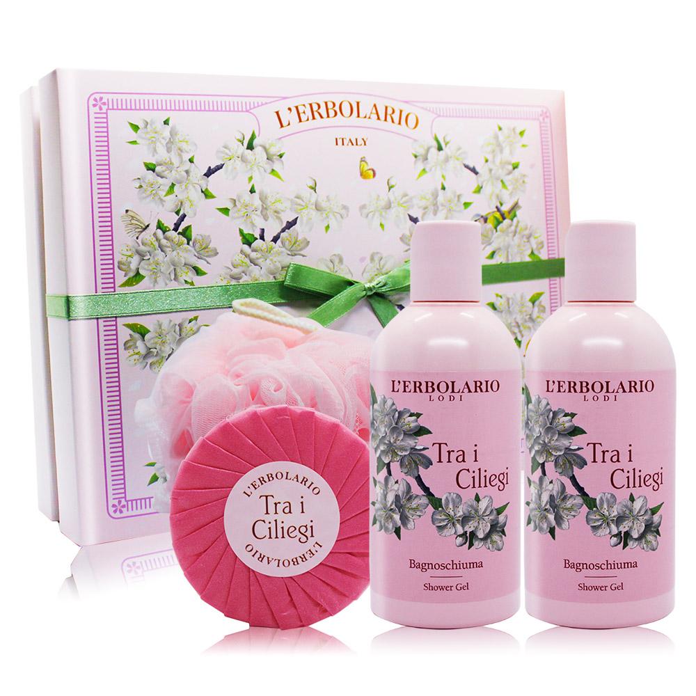 L'ERBOLARIO 蕾莉歐 櫻花樹甜蜜禮盒[沐浴膠250mlX2+植物皂100g+沐浴球]-百貨公司貨