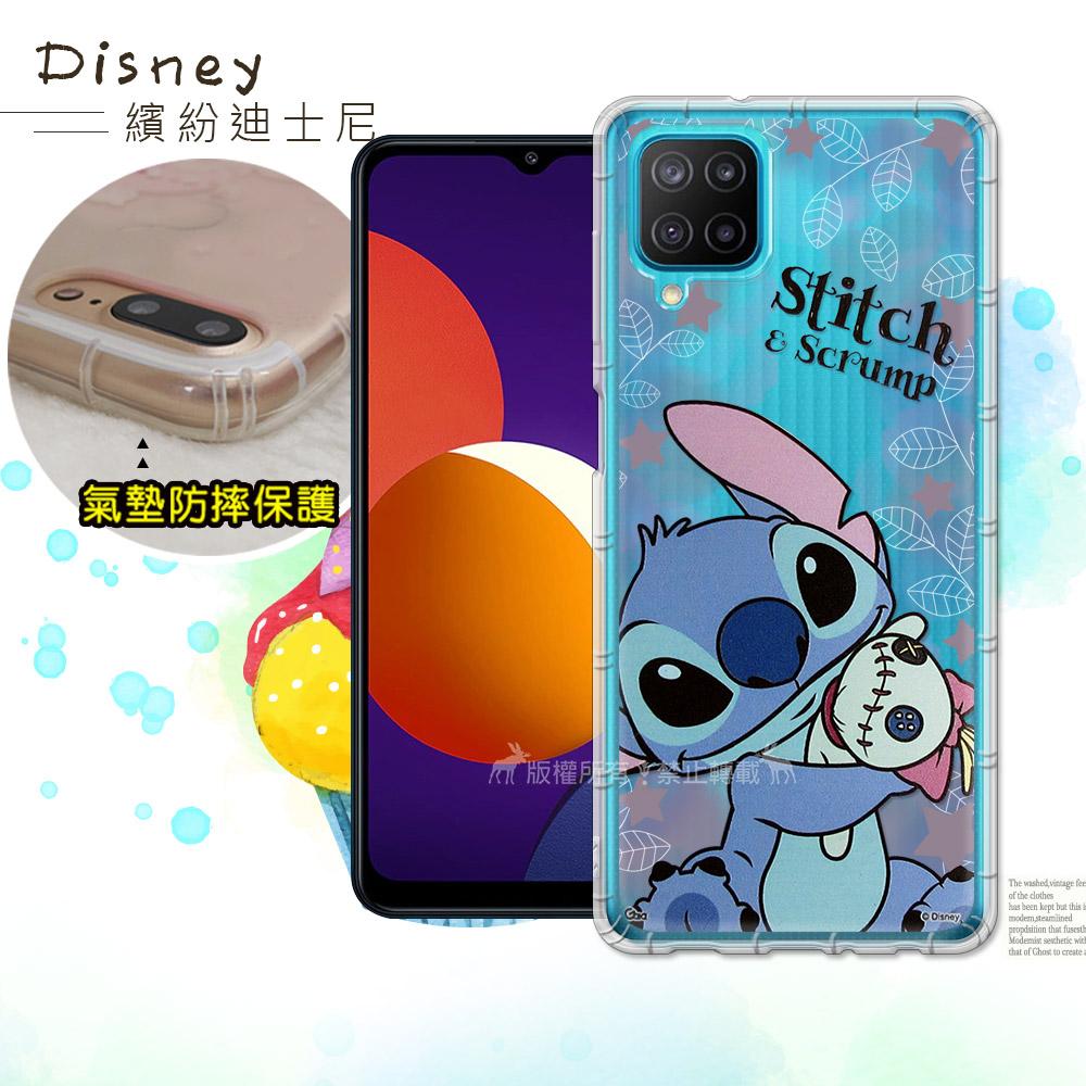迪士尼授權正版 三星 Samsung Galaxy M12 繽紛空壓安全手機殼(史迪奇)