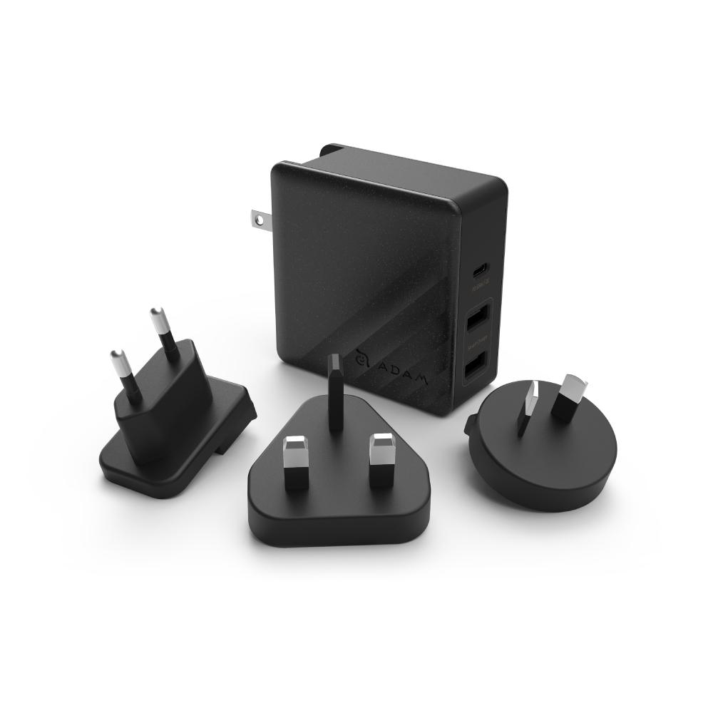 ADAM 亞果元素 OMNIA P7 USB-C 及 USB 三孔快速充電器 74W - 黑