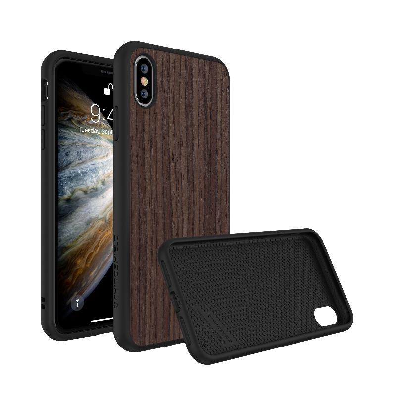 犀牛盾 SolidSuit防摔背蓋手機殼 iPhoneXs胡桃木紋 棕色/黑