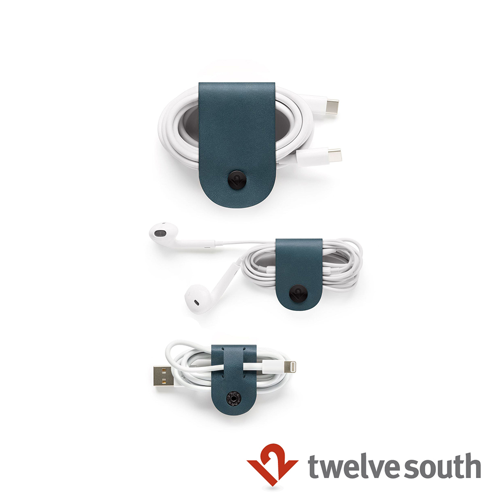 Twelve South CableSnap 真皮集線器(三件組)-孔雀藍