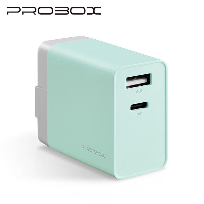 PROBOX Type C+A雙孔USB極速充電器-粉藍