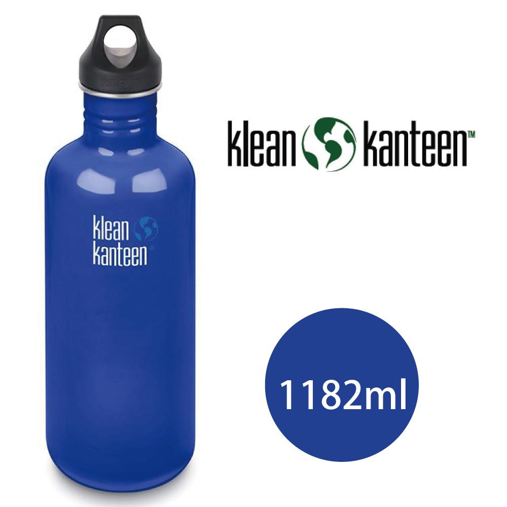 【美國Klean Kanteen】窄口不鏽鋼水瓶1182ml-沿海藍