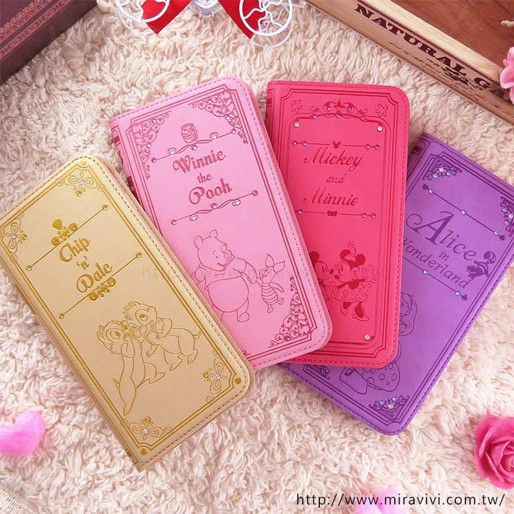 【Disney】迪士尼iPhone7 Plus施華洛世奇水鑽5.5可立式華麗時尚書本皮套-愛麗絲