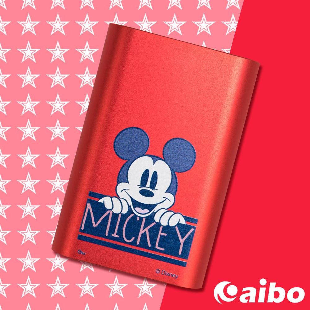 【Disney】經典極簡 7200mAh Type-C雙向充電行動電源(附收納袋)-極簡米奇